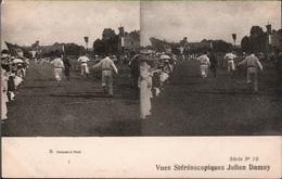 ! Alte Stereokarte Vue Stereoscopique Julien Damoy, Serie No.10, Sport, Staffellauf - Estereoscópicas