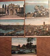 5 Chromos Images, Cartes:Constantinople -Nouveau Pont,les Eaux Douces D'Europe,Palis, Promenade Du Vendredi (10,4 X 7,6) - Chromos