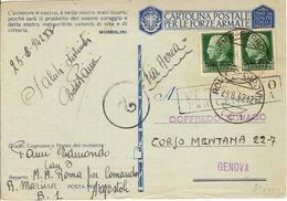 (St.Post.).Isole Jonie.1942.Argostoli.25c Verde Soprastampato,in Coppia Su Franchigia Militare.Rarità (91-a17) - Isole Jonie