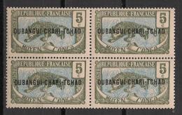 Oubangui - 1915-18 - N°Yv. 4 - Panthère 5c Vert - Bloc De 4 - Neuf Luxe ** / MNH / Postfrisch - Unused Stamps