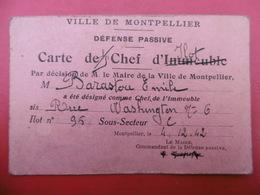 DEFENSE PASSIVE CARTE DE CHEF D ILOT MONTPELLIER 1942 - Historische Documenten