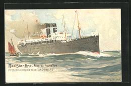 Künstler-AK Henri Cassiers: Passagierschiff Kroonland Auf See - Paquebote