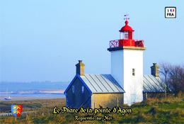 Set 6 Cartes Postales, Phares, Lighthouses Of Europe, France, Regnéville-sur-Mer, Le Phare De La Pointe D'Agon - Vuurtorens