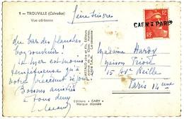GRIFFE LINEAIRE SUR TIMBRE NON OBLITERE AU DEPART CALVADOS SEINE CP AMBULANT CAEN A PARIS - Storia Postale