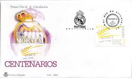 2002 Espagne  Yv 3445 Cent. Real Madrid Football Cachet (Premier Jour) TB Beau (FDC)  (Yvert&Tellier) - FDC