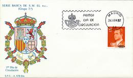 1982 Espagne  Yv 2278 Juan Carlos I Rois Cachet (Premier Jour) TB Beau (FDC)  (Yvert&Tellier) - FDC