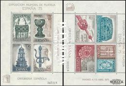 1975 Spain  Sc 1877/1878 Sheet Spain 75 Exposition **MNH Very Nice, Mint Hever Hinged  (Scott) - 1971-80 Neufs