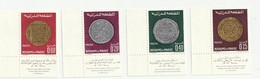 Maroc. 4 Timbres 1968. Yvert Et Tellier N° 578 à 581. Anciennes Monnaies. Fragments Fil De Soie. - Coins