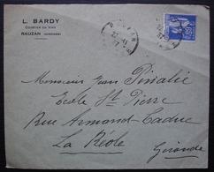 Rauzan (Gironde) 1937 L. Bardy Courtier En Vins, Lettre Pour La Réole - Postmark Collection (Covers)
