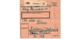 ALLEMAGNE  /  COLIS-POSTAL  /  De Würzburg    / Pour Kochern ( Cocheren ) / 16-11-43 - Germany