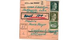ALLEMAGNE  /  COLIS-POSTAL  /  über Wetzlar    / Pour Sengbusch ( Seingbouse ) / 24-11-43 - Deutschland