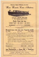 Pub Reclame - Bateaux - Max Moritz Nino Albatros - Tour Du Lac - Gandria à Caprino - Advertising