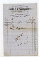 """FACTURE - SAVORNIN Fils DE PELISSANNE, HUILE D'OLIVE & DENRÉES COLONIALES, """"AUX DEUX PROVINCAUX"""", RUE DE RICHELIEU, PARI - 1800 – 1899"""