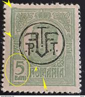 Errors  Romania 1918 King Charles I, 5bani Green ,with Printed Eextened In Frame In Corner Left Point Under Letter ``M`` - Variedades Y Curiosidades