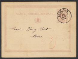 """EP Au Type 5ctm Mauve """"carte-correspondance"""" Obl Double Cercle """"Mouscron"""" (1875) Vers Mons. - AK [1871-09]"""