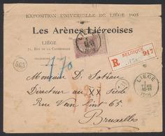 Fine Barbe - N°61 Sur Lettre En R De Liège Vers Bruxelles / Exposition Universelle De Liège 1905 + Vignette Au Verso. - 1893-1900 Fine Barbe