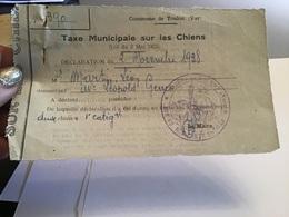 Taxe Municipal Sur Les Chiens Communes De Toulon Var Taxe Sur Les  Chien Déclaration 1938 - Francia
