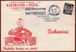 """YUGOSLAVIA-SLOVENIA, ADVERTISEMENT MARK """"GOLOB & KO."""" ILIRIJA SHOE CREAM LJUBLJANA 1936 RARE!!! - Slowenien"""
