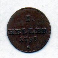 GERMAN STATES - AUGSBURG, 1 Heller, Copper, 1798, KM #188 - [ 1] …-1871 : Duitse Staten