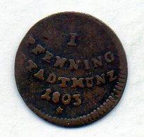 GERMAN STATES - AUGSBURG, 1 Pfennig, Copper, 1803, KM #191 - [ 1] …-1871 : Duitse Staten