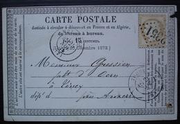 Mézières 1875 (Ardennes) GC 2351 Carte Précurseur Pour Toucy Près Auxerre - Postmark Collection (Covers)