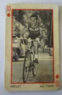 CARTE A JOUER Ancienne 10 De Carreaux Rouge Coureur PRIVAT - Cyclisme