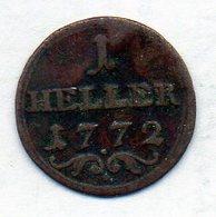 GERMAN STATES - BAMBERG, 1 Heller, Copper, 1772, KM #133 - [ 1] …-1871 : Duitse Staten