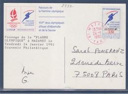 = Parcours De La Flamme Olympique Mazamet 24.1.1992 Timbre 2732 - Inverno1992: Albertville