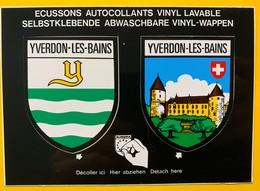 60071 - Yverdon-les-Bains Armoiries  & Château 2 Ecussons Autocollants - VD Vaud
