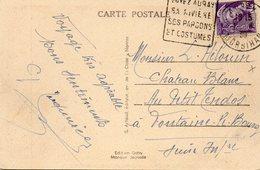 """Cachet Daguin """"AURAY""""Morbihan,sur C.P.A.,1939.pour FONTAINE-LE-BOURG. - Postmark Collection (Covers)"""