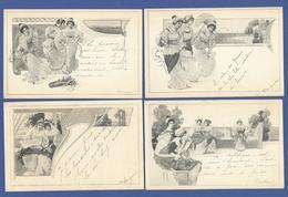 CPA Série De 4 Cartes Art Nouveau Femme Women MM VIENNE - Gatos