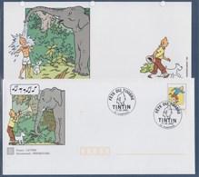 = Fête Du Timbre Damparis 11.03.2000 Sur Enveloppe Entier Tintin Type 3304 Avec Carte Tintin Pour Correspondance - Stamp's Day
