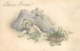 BONNE ANNEE - Enfant Et Cochon, Carte Style Vienne. - Cochons