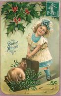 BONNE ANNÉE - Petite Fille Et Cochons, Carte Gaufrée. - Cochons