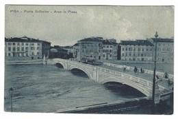 1919 - PISA PONTE SOLFERINO ARNO IN PIENA ANIMATA 1920 CIRCA - Pisa