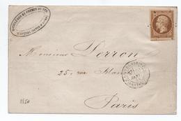 """1854 - BELLE NUANCE N° 9 PRESIDENCE + VOISIN Sur LETTRE LOCALE Avec TàD """"LETTRE AFFRANCHIE DE PARIS"""" & ETOILE PLEINE - Postmark Collection (Covers)"""