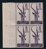 AFRICA ORIENTALE ITALIANA  1938  GAZZELLA DI GRANT LIRE 3,70 QUARTINA   MNH** - Italienisch Ost-Afrika