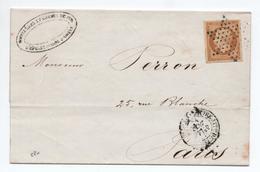1855 - LETTRE LOCALE De PARIS Avec ETOILE PLEINE Sur N° 13 - 1849-1876: Periodo Classico