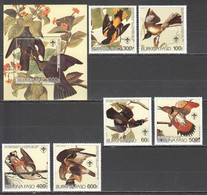 UU658 ONLY ONE IN STOCK BURKINA FASO FAUNA BIRDS AUDUBON MICHEL 19 EU 1SET+1BL MNH - Pájaros