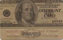 Discount Card Dorée : Estonie : Billet De $100 USA - Otros