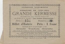 Liancourt 60 - Billet D'entrée - Grande Kermesse Patronage Saint-Martin - Tombola - Liancourt