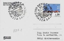 Siena Piazza Salimbeni 18-9-1972 ; 5° Centenario  Del Monte Dei Paschi Di Siena Su Cartolina - Fabbriche E Imprese