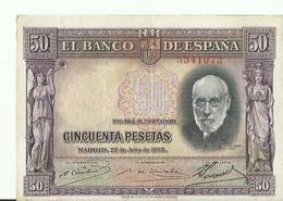 BILLET ETAT  NEUF 50...CINCUENTA PESETAS MADRID 1935 - [ 2] 1931-1936 : Repubblica