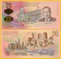 Singapore 20 Dollars P-new 2019 Bicentennial Commemorative UNC Polymer Banknote (without Folder) - Singapore