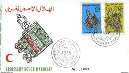 "Maroc;FDC 1976 ;  TP N°761/762 "" Croissant Rouge Marocain  ""Morocco;Marruecos - Morocco (1956-...)"