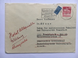 GERMANY Occupation Stamp On 1960 Cover With Tax Stamp Munchen To Frankfurt Re-directed To Feldberg - Zona Soviética