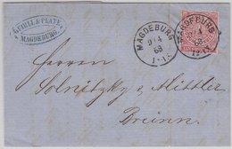 NDP/Böhmen - Magedurg 1868 K1 1 Gr. Dst Brief N. Brünn - Faltbrief Mit Inhalt - Norddeutscher Postbezirk (Confederazione Germ. Del Nord)