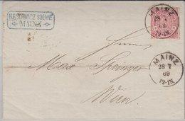 NDP/Österreich - Mainz 1869 K1 3 Kr. Dst. Brief N. Wien - Ohne Inhalt - Norddeutscher Postbezirk (Confederazione Germ. Del Nord)