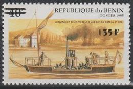 Bénin 2000 Mi. 1232 Adaptation Dun Moteur à Vapeur Au Bateau 1788 Boot Boat Dampf Ship Schiff Surchargé Overprint MNH** - Bénin – Dahomey (1960-...)