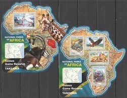 ST258 2016 SIERRA LEONE WILD ANIMALS NATIONAL PARK SELOUS GAME RESERVE KB+BL MNH - Sellos